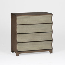 Harper Chest - This unique curvy chest is a nice transitional bedroom furniture design with white faux shagreen drawer fronts and a natural oak frame. It features clean curved details on the drawers and is a standout chest that would look great in any space SKU