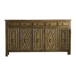 Hooker Furniture - Geometric Console - Looking for a rustic and fresh console? The geometric cabinet façade and high-end farm quality exude both. Four drawers and a built-in wine rack suit your modern tastes and offer plenty of space to fill with your favorite vintage. Pop a prosecco bottle and make a toast!