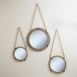 Connor Rope Mirror - I'm loving the texture of the rope and the iron frame for warm, weathered styling.