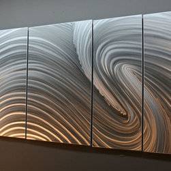 """Metal Wall Art - """"Fusion"""" Multi-Panel - $534 """"Fusion"""" is a contemporary artwork of undeniable beauty. It's truly a testament to the brilliant artist behind this piece. The free flowing energy in this piece represents as well as complements the free spirit nature of a human being. It's deep and thought provoking yet simple and elegant. This masterpiece indeed is one of its kind and a true master work to stand the test of times for many decades to come. www.nicholasyust.com/fusion.html"""