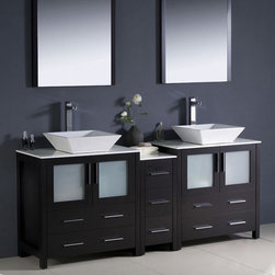 "Fresca - Fresca Torino Espresso Double Sink Vanity, Side Cabinet & Vessel Sinks - Adorn your bathroom with this luxury vanity unit by Fresca. As part of the Torino range, this modern bathroom furniture item provides ample storage without compromising on style. The exterior comes in a deep Espresso finish and it features frosted glass panels doors. Two countertop sinks sit on top of the matching side cabinets for added functionality.  Torino Bathroom Vanity Details:   Dimensions: Vanity: 72""W x 18 1/8D x 35 5/8H, Side Cabinet: 12""W x 17.75""D x 28.13""H Material: Plywood with Veneer, vessel ceramic sinks Finish: Espresso Please note: faucets not included"