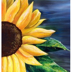 "Sunflower (Original) by Casey  Stradcutter - This is my favorite flower.  It was featured in my wedding and my house is rarely void of such a happy flower.  Its name means loyalty and brings warmth and contentment, much like the same effects of our own sun.  It was also the main subject of the first painting I studied as a child; Vincent Van Gogh's ""Sunflowers."""