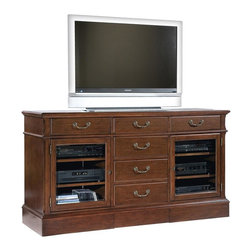 Hekman Furniture - New Entertainment Console w Glass Doors - One adjustable shelf behind each door. Three drawers across the top. One large storage drawer. Ipod docking station. Game gear plug (Wii compatible). Strategically located cut outs provide neat and orderly routing of cords and connections. Warranty: One year. Made from select solids and cherry veneers. Weathered cherry finish. 66 in. W x 21 in. D x 36.5 in. H