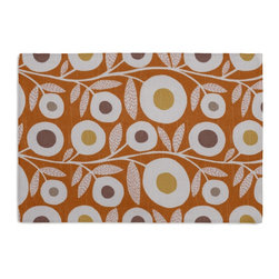 Orange and Gray Graphic Floral Custom Placemat Set - Is your table looking sad and lonely? Give it a boost with at set of Simple Placemats. Customizable in hundreds of fabrics, you're sure to find the perfect set for daily dining or that fancy shindig. We love it in this modern graphic floral print in tangerine orange, gray & white that will put some spring in your decor's step