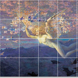 Picture-Tiles, LLC - 2 Tile Mural By Edward Robert Huges - * MURAL SIZE: 32x48 inch tile mural using (24) 8x8 ceramic tiles-satin finish.
