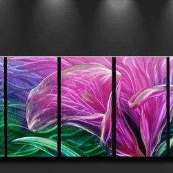 Matthew's Art Gallery - Metal Wall Art Contemporary Flower Purple Glamour - Name: Purple Glamour