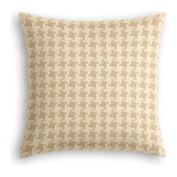 Cream Knit Houndstooth Custom Throw Pillow - The every-style accent pillow: this Simple Throw Pillow works in any space.  Perfectly cut to be extra fluffy, you'll not only love admiring it from afar but snuggling up to it too!  We love it in this chunky knit cream & white houndstooth. perfect for adding cozy texture to any aesthetic from modern to traditional.