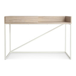 Blu Dot - Blu Dot Swish Console Desk, White Ash / Matte White - We dont know exactly what it is, but it is whatever you need it to be. Sliding top to conceal or reveal more work space. Pencil and/or junk drawer. Cord management slot. Console, mini buffet, home office headquarters. Voila!