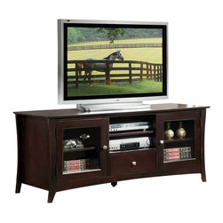 Homelegance - Homelegance Borgeois 60 Inch TV Stand - A new addition to the expanding Borgeois collection is the perfect contemporary platform for your television. Features include media storage and glass-fronted doors that open to reveal display shelving. The Espresso finish further enhances this contemporary offering.