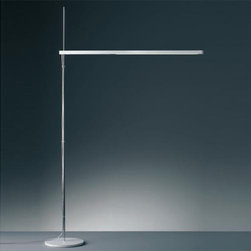 Artemide - Artemide | Talak LED Floor Lamp - Design by Neil Poulton, 2008.Floor standing luminaire for direct task LED lighting.Body in injection molded thermoplastic in matte white powder coated finish, incorporating LED light source.Body rotates 360° on the horizontal plane and can be adjusted in height by sliding it along its stem.Stem in polished chrome steel.Floor base in white painted steel.Dimmer switch on body.