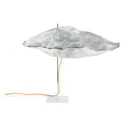 Environment - Grace Table Lamp - Environment - The Grace Collection makes a glowing light fixture for home or office. The beautifully proportioned lamp uses paper - lightweight, recyclable Tyvek® to form futuristic, cloudlike pods, and an invisible light source in the center provides diffused, non-glare illumination. A canary-yellow electric cord gives a down-to-earth pop of color to the all-white coverings. The Grace Table Lamp offers a refreshing antidote to the conical lampshade. Designed by Jean-Marie Massaud.