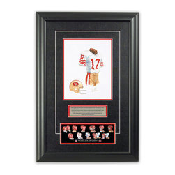 "Heritage Sports Art - Original art of the NFL 1981 San Francisco 49ers uniform - This beautifully framed piece features an original piece of watercolor artwork glass-framed in an attractive two inch wide black resin frame with a double mat. The outer dimensions of the framed piece are approximately 17"" wide x 24.5"" high, although the exact size will vary according to the size of the original piece of art. At the core of the framed piece is the actual piece of original artwork as painted by the artist on textured 100% rag, water-marked watercolor paper. In many cases the original artwork has handwritten notes in pencil from the artist. Simply put, this is beautiful, one-of-a-kind artwork. The outer mat is a rich textured black acid-free mat with a decorative inset white v-groove, while the inner mat is a complimentary colored acid-free mat reflecting one of the team's primary colors. The image of this framed piece shows the mat color that we use (Red). Beneath the artwork is a silver plate with black text describing the original artwork. The text for this piece will read: This original, one-of-a-kind watercolor painting of the 1981 San Francisco 49ers uniform is the original artwork that was used in the creation of this San Francisco 49ers uniform evolution print and tens of thousands of other San Francisco 49ers products that have been sold across North America. This original piece of art was painted by artist Nola McConnan for Maple Leaf Productions Ltd.  1981 was a Super Bowl winning season for the San Francisco 49ers. Beneath the silver plate is a 3"" x 9"" reproduction of a well known, best-selling print that celebrates the history of the team. The print beautifully illustrates the chronological evolution of the team's uniform and shows you how the original art was used in the creation of this print. If you look closely, you will see that the print features the actual artwork being offered for sale. The piece is framed with an extremely high quality framing glass. We have used this glass style for many years with excellent results. We package every piece very carefully in a double layer of bubble wrap and a rigid double-wall cardboard package to avoid breakage at any point during the shipping process, but if damage does occur, we will gladly repair, replace or refund. Please note that all of our products come with a 90 day 100% satisfaction guarantee. Each framed piece also comes with a two page letter signed by Scott Sillcox describing the history behind the art. If there was an extra-special story about your piece of art, that story will be included in the letter. When you receive your framed piece, you should find the letter lightly attached to the front of the framed piece. If you have any questions, at any time, about the actual artwork or about any of the artist's handwritten notes on the artwork, I would love to tell you about them. After placing your order, please click the ""Contact Seller"" button to message me and I will tell you everything I can about your original piece of art. The artists and I spent well over ten years of our lives creating these pieces of original artwork, and in many cases there are stories I can tell you about your actual piece of artwork that might add an extra element of interest in your one-of-a-kind purchase."