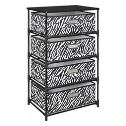 Altra Furniture - 4-Drawer Bin Storage Unit with Zebra Print in Black - 4 collapsible, non-woven fabric bins in Zebra print. Chrome Grommet Handles on bins. Painted table top surface. Folding Black Metal Frame. No Tools Assembly. 18.5 in. L x 13.39 in. W x 30.71 in. H (11 lbs)Go wild at college with this zebra-print storage end table. Perfect for clothes, shoes, books, or anything else you need to get off your floor. Features chrome grommet handle pulls, a durable metal frame and painted tabletop. Assembles in minutes without tools to make move-in day a breeze.