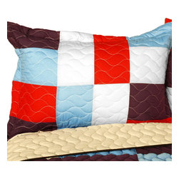 Blancho Bedding - [Star Swings] Vermicelli-Quilted Patchwork Geometric Quilt Set Full/Queen - The [Star Swings] 100% TC Fabric Quilt Set (Full/Queen Size) includes a quilt and two quilted shams. This pretty quilt set is handmade and some quilting may be slightly curved. The pretty handmade quilt set make a stunning and warm gift for you and a loved one! For convenience, all bedding components are machine washable on cold in the gentle cycle and can be dried on low heat and will last for years. Intricate vermicelli quilting provides a rich surface texture. This vermicelli-quilted quilt set will refresh your bedroom decor instantly, create a cozy and inviting atmosphere and is sure to transform the look of your bedroom or guest room. (Dimensions: Full/Queen quilt: 90.5 inches x 90.5 inches; Standard sham: 24 inches x 33.8 inches)