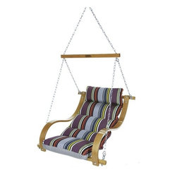 Hatteras Hammocks - Single Swing with Oak Arms - Icon Mystique - Clean lines and stately color combine in a strong, assertive pattern of simple sophistication offset by understated hints of causal. The curved white-oak swing arms, richly hued in earthy honey-gold, provide sharp counterpoint to the strict linearity and quintessentially formal color scheme, accentuating the muted undercurrent of easygoing abandon. Relaxation, beautifully refined.