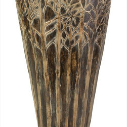 """Imax Worldwide Home - Large Amaris Vase - Earthy and imbued with mystery, you can almost imagine a wood nymph or elf peeking out from the forest of trees encircling this ceramic vase. For a coordinated look purchase both sizes.; Country of Origin: Phillipines; Weight: 8.47 lbs; Dimensions: 16.5""""h x 10""""w x 4.5""""d"""