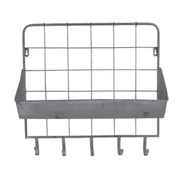 Enchante Accessories Inc - Wall Mounted Distressed Metal Letter Holder & Key Rack, Grey/Blue - Add fashion and function to any room in the house with the Wall Mounted Distressed Metal Letter Holder & Key Rack.  This key rack features a durable metal grid design with rounded edges, distressed detailing that gives the metal a rustic, worn in look, and an angled letter tray that can be used to hold mail.  The back panel features a stylish metal grid that adds a graphic element against the wall while the letter tray has a gently curved lip and an angled ledge to hold incoming or outgoing mail or other small accessories that you need to keep within easy reach near the door.
