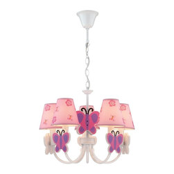 Lite Source - Lite Source Farfalla Modern/Contemporary Chandelier - Creating a fun, enchanting atmosphere, this chandelier features pink fabric shade with butterfly and flower patterns. The white finish complements the visually appealing look of the sweeping arms with pink and purple butterfly accents. The Lite Source Farfalla Contemporary chandelier is ideal for the bedroom for a lighthearted atmosphere.