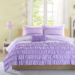 Mi-Zone - Mizone Ellen 4-Piece Comforter Set - For the girl who loves polka dots,the Mizone Ellen Comforter Set is perfect for you. The top three-quarters of the comforter feature a white ground with purple polka dots which the bottom quarter has purple ruffles with white polka dots.
