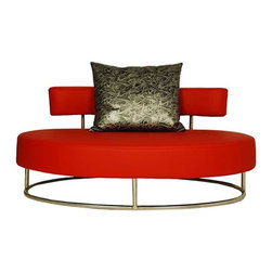 Zuri Furniture - Oyster Contemporary Comfortable Lounge Chair, Red - The Oyster contemporary lounge chair is the quintessential mid-century oval shaped statement piece perfect for two! Inspired by modern design, Oyster will add alluring charm to a foyer, living room or bedroom sitting area. Upholstered in rich leatherette and finished with a polished chrome base and sleek seat back. Available in black, red, or white.