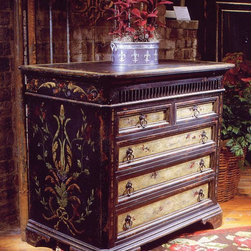 """Habersham - Habersham Oxfordshire Chest - It all started in the small North Georgia town of Clarkesville. It was 1969 and Habersham founder Joyce Eddy had just been given the chance to operate a small antique shop located above an old laundromat. This was just the opportunity a woman of Joyce's vision and energy would turn into the perfect blend of utility artistry and soul. Looking for ways to make her antique business more profitable she began crafting small decorative purses from vintage wooden cigar boxes. They were totally unique and they were an instant hit. Joyce named her new venture Habersham Plantation after Georgia's Habersham County and the plantations for which the area was known. The ideas just kept coming. One day Joyce was driving by a local textile company and spotted a large pile of old discarded wooden spools. Those spools were soon crafted into candleholders towel racks and folk art items. With the help of her sons and other family members Joyce expanded Habersham's offerings to include handcrafted furniture reflecting the American Country designs of the early 17th and 18th centuries. As word spread and production demands grew Joyce enlisted the help of woodworkers from her North Georgia region. This area had been a center for cabinetmaking since the early 1800s and the master craftsmen were well-schooled in the time-tested woodworking and joinery techniques that matched Joyce's sense of style and function. She even designed her factory to work just as the 18th century cabinetmakers did with individual artisans hand-finishing signing and dating each piece of furniture they crafted. Today Habersham still leads the way in the fine art of furniture design. So much so that in addition to their product line a new """"whole home"""" concept is finding its way into some of the finest dwellings in the country. Custom kitchen bath and other cabinetry designs offer rich opulent finishes and blend seamlessly with rooms of casual elegance all enhancing today's gra"""