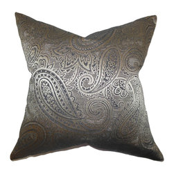 """The Pillow Collection - Cashel Paisley Pillow Gray 18"""" x 18"""" - This exquisite throw pillow offers a luxurious finishing touch to your living space. With a beautiful paisley pattern in shades of gray, this toss pillow offers sophistication and comfort. Toss this 18"""" pillow together with solids and other decor pieces. Made in the USA and constructed with 65% cotton and 35% polyester material."""