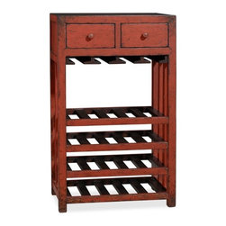 Aiden Wine Tower - For a rustic country look, a little distressed paint goes a long way. This is best for someone who entertains semi-frequently and keeps more than eight bottles on hand.