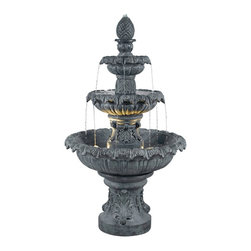 """Kenroy Home - Kenroy Home Costa Brava Zinc Finish 3-Tiered Fountain - With the Costa Brava fountain you get a taste of Barcelona's stunning fountain attractions. Enjoy the sights and sounds inspired by such classic water features in your own backyard. You'll be impressed day and night by this lighted 3-tiered Mediterranean classic. From the Kenroy Home fountain collection. Cast resin construction. Zinc finish. Pump included. Outdoor use. 46"""" high. 26"""" wide.  Costa Brava Zinc Finish 3-Tiered Fountain.  Light in lower water basin.  Zinc finish.   Cast resin construction.   Lightweight and easy to move.  For outdoor garden use.   Pump included.   Includes two 10 Watt 12 Volt (MR-11) bulbs  46"""" high.   26"""" wide."""