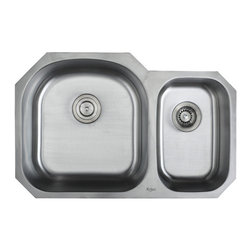 Kraus - Kraus 32 inch Undermount 60/40 Double Bowl 16 Gauge Sink Combo Set - Add an elegant touch to your kitchen with a unique and versatile undermount sink from Kraus
