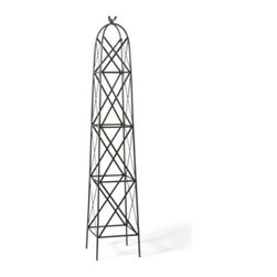 Grandin Road - Bird Garden Obelisk - Garden trellis with an arched top, adorned with a bird. Crafted from metal. Black all-weather powdercoat finish. Lightweight and sturdy. Easily stakes into a planter or the ground. Take your garden to new heights with our elegant, arched Bird Garden trellis that climbs more than 5-1/2 ft., supported by graceful cross bracing, topped with a single starling.  .  .  .  .  .