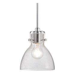 Minka Lavery - Minka Lavery 2244-77 Chrome 1 Light Pendant - Clear Seeded Glass Shade