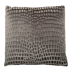 Designer Fluff - Velvet Animal Pillow, 20x20 - Is it your heart — or the tribal drums — that are beating so loudly? This sophisticated pillow features a subtle giraffe print in rich gray shimmery velvet. Each has a hidden zipper closure and comes in your choice of sizes, inserts and edges for your very own style safari.