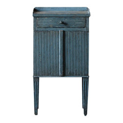 Marco Polo Imports - Ekata Cabinet - Classic wood cabinet with expertly hand-carved details and an old-world steel blue finish.
