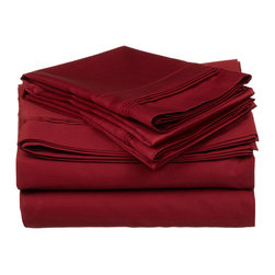"""650 Thread Count Egyptian Cotton Full Burgundy Solid Sheet Set - Our 650 Thread Count Sheet Set offers high thread count durability with premium softness. They are composed of long-staple cotton and have a """"Sateen"""" finish as they are woven to display a lustrous sheen that resembles satin. Set includes: (1) Fitted 54""""x75"""", (1) Flat 86""""x96"""", (2) Pillowcases 20""""x32"""" each."""