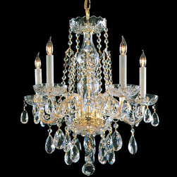 Crystorama - Crystorama Traditional Crystal 1 Tier Chandelier in Polished Brass - Shown in picture: Hand Polished Crystal Chandelier; Traditional crystal chandeliers are classic - timeless - and elegant. Crystorama�s opulent glass arm chandeliers are nothing short of spectacular. This collection is offered in a variety of crystal grades to fit any budget. For a touch of class - order this collection in Gold for traditionalists or in Chrome to match your contemporary or transitional decor.