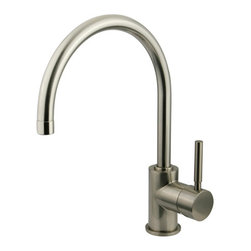 Kingston Brass - Single Handle Vessel Sink Faucet - Single Handle Deck Mount, 1 Hole Sink Application, Fabricated from solid brass material for durability and reliability, Premium color finish resists tarnishing and corrosion, 1/4 turn On/Off water control mechanism, 1/2in. IPS male threaded inlets with flexible braided stainless steel supply lines, Ceramic disc cartridge, 2.2 GPM (8.3 LPM) Max at 60 PSI, Integrated removable aerator, 8-1/2in. spout reach from faucet body, 12-1/2in. spout height.