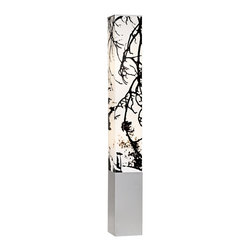 "Lamps Plus - Asian Autumn Branch Square Tower Floor Lamp - This floor lamp offers an exciting modern take on lighting. It begins with a lustrous metal base. From there a white vinyl shade extends upward. The shade is decorated with an Autumn branch design in black providing striking contrast. This piece offers a vertical lift to any location and the square shape will nicely complement your modern decor. Metal base. Vinyl decorated shade. Takes two 40 watt bulbs (not included). 51 1/2"" high. 6 1/2"" wide.  Black autumn branch design.  Vinyl decorated shade.   Metal base.   Uno shade.  Takes two 40 watt bulbs (not included).   51 1/2"" high.   6 1/2"" wide.  Shade is 39 3/4"" high and 6 1/2"" wide."