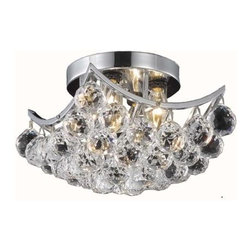 "PWG Lighting - Taillefer 4-Light 10""D Crystal Flush Mount 8330F10C-SS - Bubbling ball crystals from the Taillefer Collection creates a sea of sparkling drops. Whether used in an entry hall, a dining room or in a powder room, Taillefer fills a space with drama and creativity."