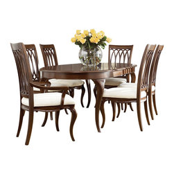American Drew - American Drew Cherry Grove NG 7 Piece Dining Room Set in Brown - Cherry Grove New Generation line promises the same timeless quality and appeal with a full line of dining room, bedroom, home office, entertainment and occasional furniture. The line incorporates many elegant curves and graceful movement, and is updated with today's finishes, functionality and style. The inviting mid tone brown finish makes the cherry veneers pop on each piece, along with custom designed hardware. This line takes advantage of vertical space with higher case heights, and maximizes the utility of small spaces with hinged drop leaves on servers and tables. In combination, the collection takes functionality to a lifestyle level and allows urban or scaled-down living spaces to become entertainment areas, making small rooms work like big rooms. The New Generation of Cherry Grove is about honoring tradition while staying on trend.