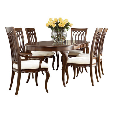 American Drew - American Drew Cherry Grove NG 7-Piece Dining Room Set in Brown - Cherry Grove New Generation line promises the same timeless quality and appeal with a full line of dining room, bedroom, home office, entertainment and occasional furniture. The line incorporates many elegant curves and graceful movement, and is updated with today? finishes, functionality and style. The inviting Mid tone brown finish makes the cherry veneers pop on each piece, along with Custom designed hardware. This line takes advantage of vertical space with higher case heights, and maximizes the utility of small spaces with hinged drop leaves on servers and tables. In combination, the collection takes functionality to a lifestyle level and allows urban or scaled-down living spaces to become entertainment areas, making small rooms work like big rooms. The New Generation of Cherry Grove is about honoring tradition while staying on trend.