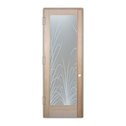 "Sans Soucie Art Glass (door frame material T.M. Cobb) - Interior Glass Door Sans Soucie Art Glass Wispy Reeds Private - Sans Soucie Art Glass Interior Door with Sandblast Etched Glass Design. GET THE PRIVACY YOU NEED WITHOUT BLOCKING LIGHT, thru beautiful works of etched glass art by Sans Soucie!  THIS GLASS PROVIDES 100% OBSCURITY.  (Photo is View from OUTside the room.)  Door material will be unfinished, ready for paint or stain.  Satin Nickel Hinges. Available in other wood species, hinge finishes and sizes!  As book door or prehung, or even glass only!  1/8"" thick Tempered Safety Glass.  Cleaning is the same as regular clear glass. Use glass cleaner and a soft cloth."