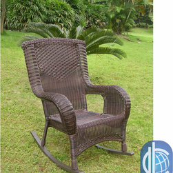 International Caravan - International Caravan Aluminum Frame Resin Weave San Tropez Rocker Chair - This San Tropez Outdoor rocker is a stylish and comfortable addition to any patio or garden setting. Featuring a strong, durable aluminum frame and 4 mm resin wicker weave, this weather resistant chair is perfect in any setting.
