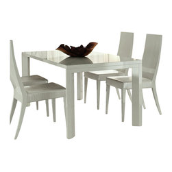 Rossetto - Rossetto Nightfly Rectangular Dining Table with Extensions in White - Rossetto - Dining Tables - R413205543068 - The table with extension of the nightfly collection, with parametric legs and new wooden glass top.