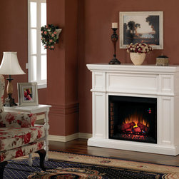 "ClassicFlame - Artesian Infrared Electric Fireplace Mantel in White - 28WM426-T401 - The Artesian 28"" Electric Fireplace Mantel is a great ""out of the box"" decorating solution. The stark white molding employs charming hardwood veneers and panels to match almost any room. The large display area is equipped with a glass front that remains cool to the touch for safety, shielding convincing LED flame technology, artificial logs and glowing embers."