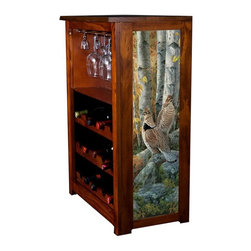 Kelseys Collection - Wine Cabinet 15 bottle Late Season Solitude - Wine Cabinet stores fifteen wine bottles and glassware with licensed artwork by Rosemary Millette giclee-printed on canvas side panels  The frame, top, and racks are solid New Zealand radiata pine with a hand stained and hand rubbed medium reddish brown finish, which is then protected with a lacquer coat and top coat. The art is giclee printed on canvas with three coats of UV inhibitor to protect against sunlight, extending the life of the art. The canvas is then glued onto panels and inserted into the frames.