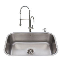 "VIGO Industries - VIGO All in One 30-inch Undermount Stainless Steel Kitchen Sink and Faucet Set - Revitalize the look of your kitchen with a VIGO All in One Kitchen Set featuring a 30"" Undermount kitchen sink, faucet, soap dispenser, matching bottom grid, and sink strainer."
