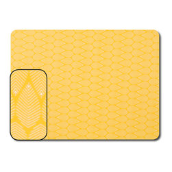 The Designs of Distinction - Laminated Place Mat - Set of 2, Yellowleaf - These are very nice fabrics laminated onto a hard back for a sturdy, washable mat. Just wipe clean!