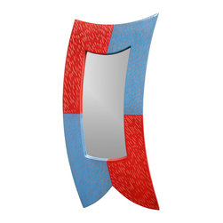 cosmo barbaro furniture - Curved Mirror Series, Blue/Red - Curved Mirror Series are milk painted with the real milk paint companies colors (blue and red in this case) in a checkered fashioned and then hand textured to reveal the underneath wood.  This is a series of mirrors that uses curves to create movement, all mirrors are made out of solid poplar and milk paint, 24x12x1