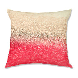 DiaNoche Designs - Pillow Woven Poplin - Monika Strigel Gatsby Coral Gold - Toss this decorative pillow on any bed, sofa or chair, and add personality to your chic and stylish decor. Lay your head against your new art and relax! Made of woven Poly-Poplin.  Includes a cushy supportive pillow insert, zipped inside. Dye Sublimation printing adheres the ink to the material for long life and durability. Double Sided Print, Machine Washable, Product may vary slightly from image.