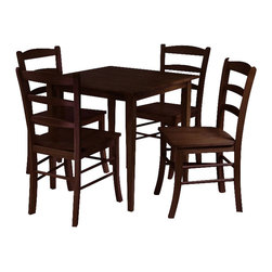 Winsome - Winsome Groveland 5 Piece Dining Set in Antique Walnut Finish - Winsome - Dinette Sets - 94532 - Rich warm and inviting describe this square Shaker-style dining table.  With slightly tapered legs the classic design combines a look that will go well with many decors and is an ideal size for a kitchen eating area or small dining room.